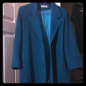 Teal wool coat Medium